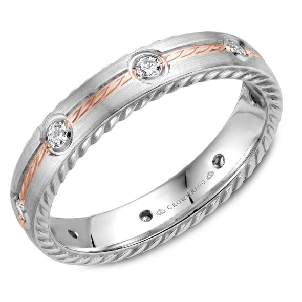 14K White & RG Wedding Band w/ RG Rope Detailed Center & 6 Round Diamonds WB-014RD4RW (4mm)