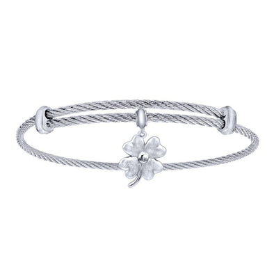Gabriel NY 925 Silver/Stainless Steel Four Leaf Clover Charm Bangle