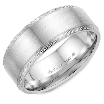 Gents 14K WG Wedding Band w/ Brushed Center & Rope Detailing WB-011R8W (8mm)