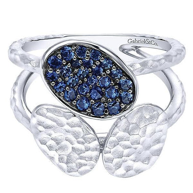 Gabriel NY Ladies 925 Silver And Sapphire Wide Band  LR51015SVJSB