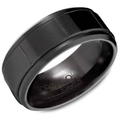 Gents Black Cobalt Wedding Band w/ Line Detailing CBB-2024 (9mm)