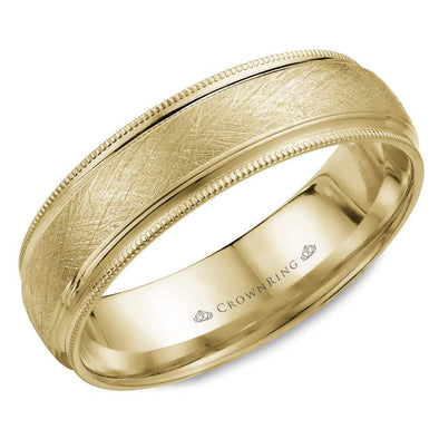 Gents 14K YG Wedding Band w/ Diamond Brushed Center & Milgrain Detailing WB-7915 (6mm)