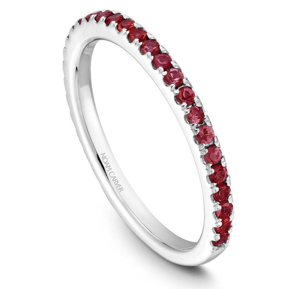 Noam Carver Platinum Stackable Ring - 29 Round Ruby's STA2-1WZ-R