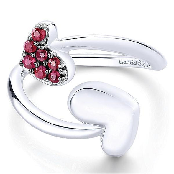 Gabriel NY Ladies 925 Silver And Ruby Fashion Ring LR51042SVJRB