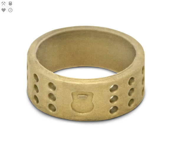 Gents QALO Gold Perforated Silicone Band