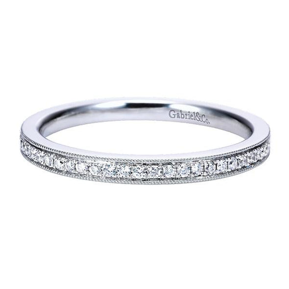 Ladies 14K White Gold Round Straight Diamond Anniversary Band
