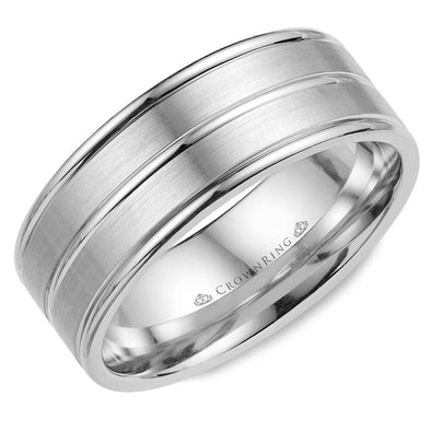 Gents 14K WG Brushed Wedding Band w/ Polished Line Detailing WB-9901 (8mm)
