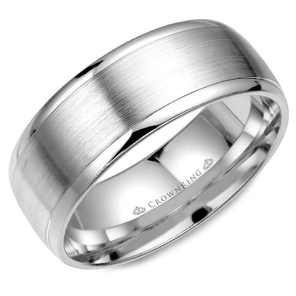 Gents 14K WG Wedding Band w/ Brushed Center WB-7023 (8mm)
