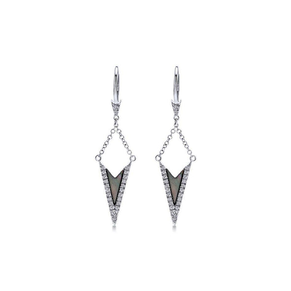 Gabriel NY 14k White Gold Black Mother of Pearl Suspended Drop Earrings