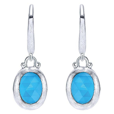 925 Silver Rock Crystal & Turquoise Drops