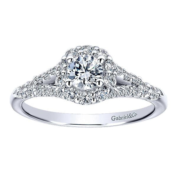 14K White Gold Vintage Split Shank Diamond Halo Engagement Ring