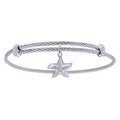Gabriel NY 925 Silver/Stainless Steel Star Fish Charm Bangle