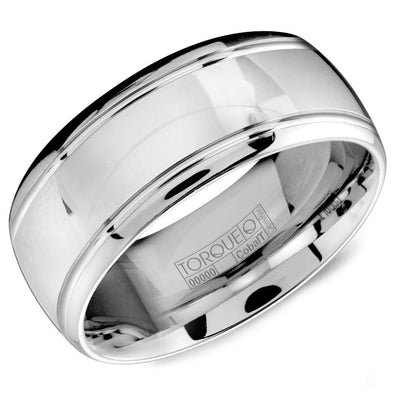 Gents White Cobalt Wedding Band w/ High Polished Finish & Line Detailing CB-2102 (9mm)