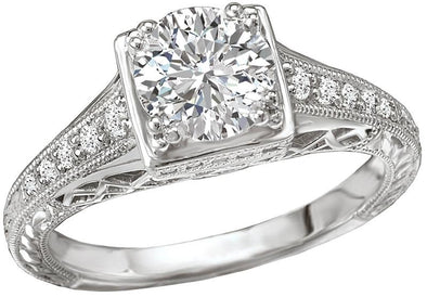 14K Vintage Engraved Band Diamond Engagement Ring
