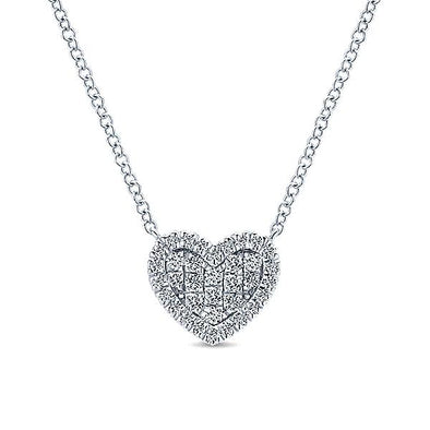 14K White Gold Diamond Heart Necklace