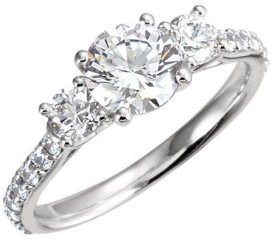 14K Contemporary Three Stone Cathedral Head Diamond Engagement Ring