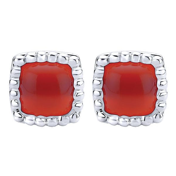 925 Silver Red Onyx Studs