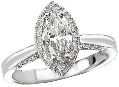 14K Victorian Milgrain Detail Marquise Diamond Halo Engagement Ring