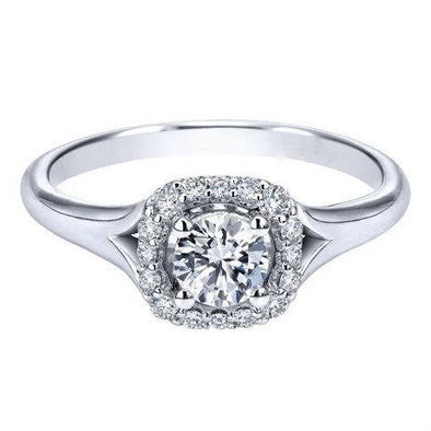 14K White Gold Contemporary Split Shank Diamond Halo Engagement Ring