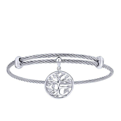 Gabriel NY 925 Silver/Stainless Steel Tree Inspired Charm Bangle