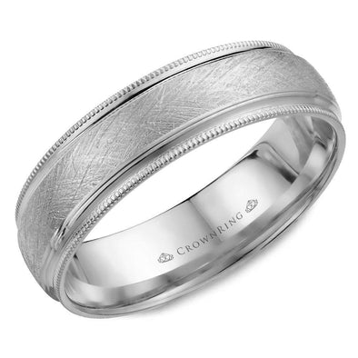 Gents 14K WG Wedding Band w/ Diamond Brushed Center & Milgrain Detailing WB-7915W (6mm)