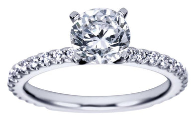 14K Contemporary Slim Band Diamond Engagement Ring