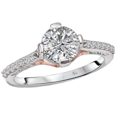14k Gold Designer 2 tone DEF Round Moissanite & Diamond Engagement Ring 1.17ct. tw.