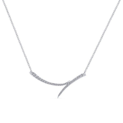 Gabriel NY 14k White Gold Diamond Pointed Bar Necklace