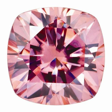 Loose Moissanite 9mm 3.3CT Peachy-Pink Cushion Shape Certified USA