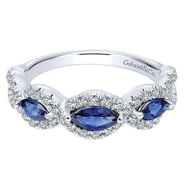 Gabriel NY Ladies 14K White Gold Diamond And Sapphire Fashion Ring LR50257W45SA
