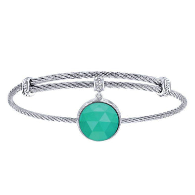 Gabriel NY 925 Silver/Stainless Steel Rope Twist Green Onyx Charm Bangle