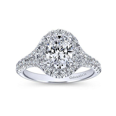 Gabriel NY 14K Vintage Split Shank Oval Diamond Halo Engagement Ring