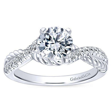 14K Contemporary Braided Band Diamond Engagement Ring