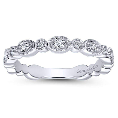 Gabriel NY 14k White Gold Ladies Versatile Diamond Stackable Ring