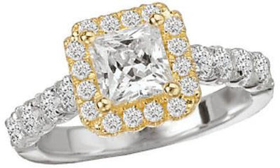 14K Two-Tone Princess Cut Diamond Halo Engagement Ring