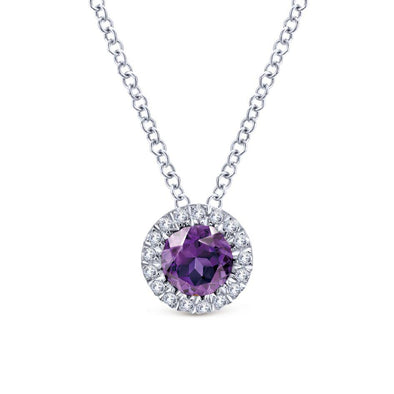 Gabriel NY 14k White Gold Ladies Amethyst & Diamond Halo Necklace