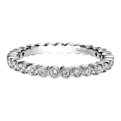 Ladies 14K White Gold Round Bezel Eternity Anniversary Band