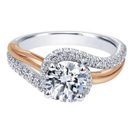 14K Contemporary Two-Tone Bypass Spiral Diamond Halo Engagement Ring