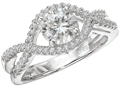 14K Contemporary Twist Split Shank Diamond Engagement Ring