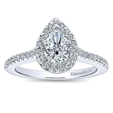 14K White Gold Diamond Pave Pear Shape Halo
