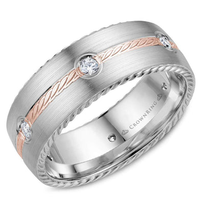 Gents 14K White & RG Wedding Band w/ RG Rope Detailed Center & 6 Round Diamonds WB-014RD8RW (8mm)