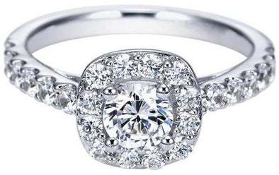 14K White Gold Contemporary Cathedral Head Diamond Halo Engagement Ring