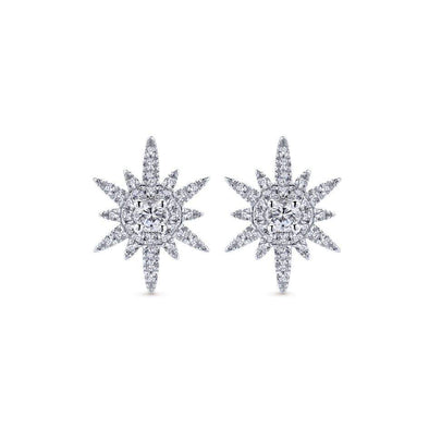 Gabriel NY 14k White Gold Diamond Starburst Stud Earrings