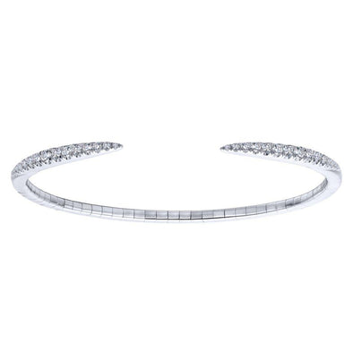 Gabriel NY 14K White Gold Diamond Pointed Ends Bangle