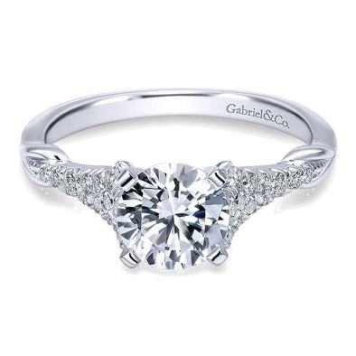14K White Gold Diamond Straight Engagement Ring