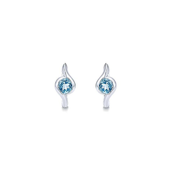 925 Silver Swiss Blue Topaz Huggie Hoop Earrings