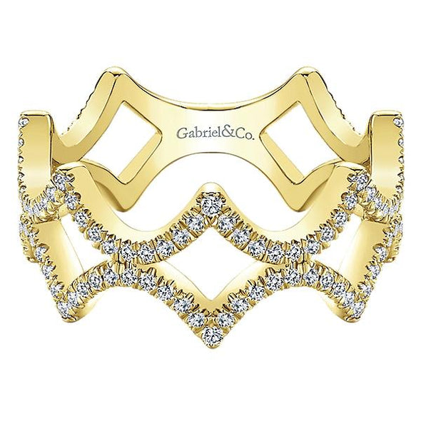 Gabriel NY Ladies 14K Yellow Gold Diamond Stackable Ring LR51184Y45JJ
