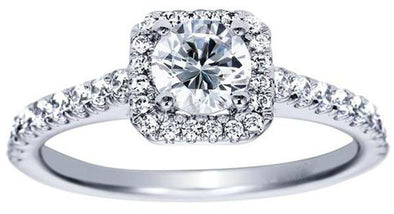 14K White Gold Contemporary Square Halo Diamond Engagement Ring