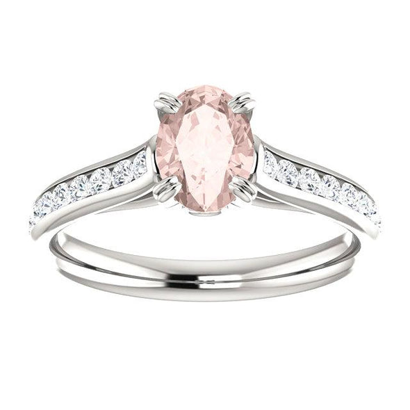 14K White Gold Oval Morganite and Diamond Engagement Ring