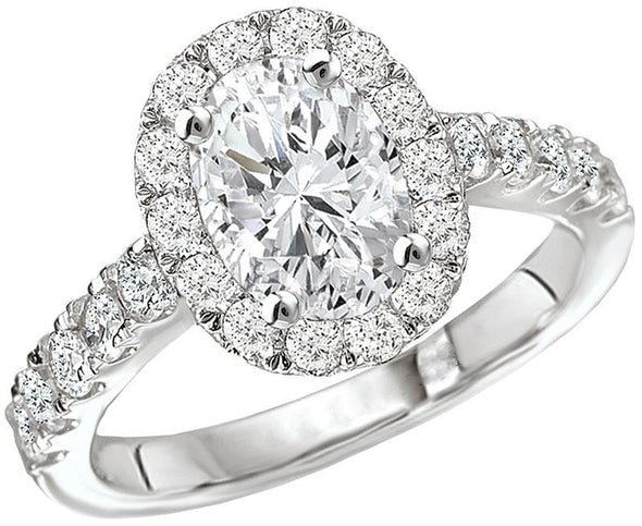 14K Contemporary Straight Band Oval Diamond Halo Engagement Ring